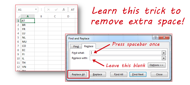 Remove Leading Space from Multiple Rows (Excel 2013)